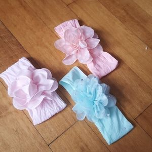 Other - Set of 3 infant headbands with flowers pink blue